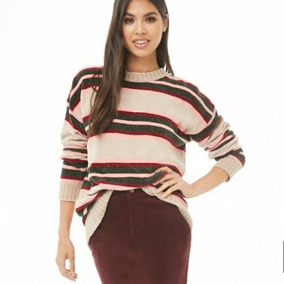 64cc29863 FOREVER 21 Chenille Cozy Striped Ribbed Sweater